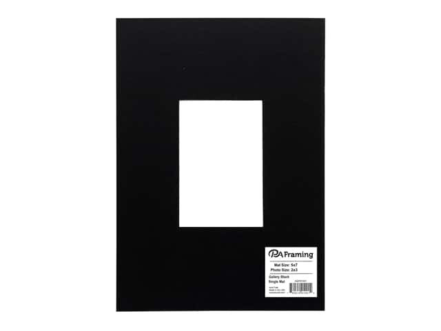 PA Framing Pre-cut Double Thick Gallery Photo Mat Board Black Core 5 x 7 in. for 2 x 3 in. Photo Black