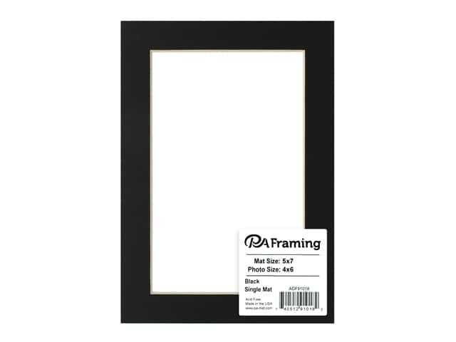 PA Framing Pre-cut Photo Mat Board Cream Core 5 x 7 in. for 4 x 6 in. Photo Black