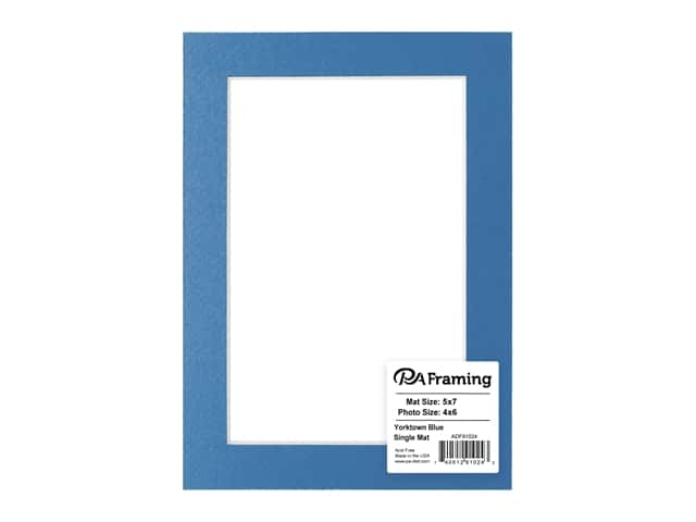 PA Framing Pre-cut Photo Mat Board Cream Core 5 x 7 in. for 4 x 6 in. Photo Yorktown Blue