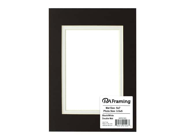 PA Framing Pre-cut Double Photo Mat Board Cream Core 5 x 7 in. for 3 1/2 x 5 in. Photo Black/White
