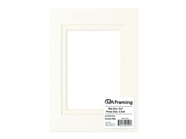 PA Framing Pre-cut Double Photo Mat Board Cream Core 5 x 7 in. for 3 1/2 x 5 in. Photo Ivory/Ivory