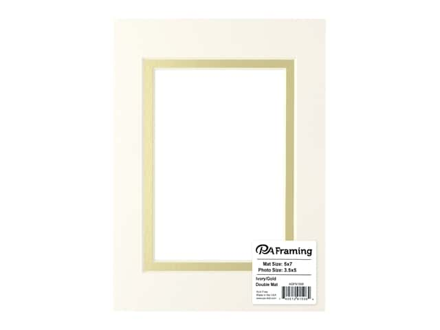 PA Framing Pre-cut Double Photo Mat Board Cream Core 5 x 7 in. for 3 1/2 x 5 in. Photo Ivory/Gold
