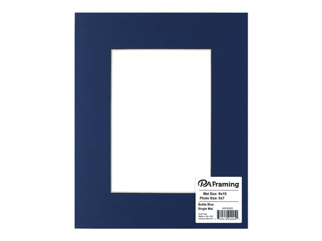 PA Framing Pre-cut Photo Mat Board Cream Core 8 x 10 in. for 5 x 7 in. Photo Bottle Blue