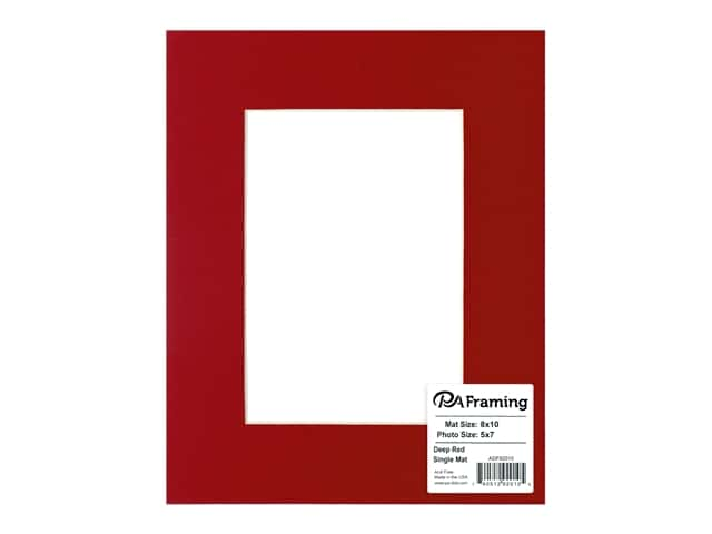 PA Framing Pre-cut Photo Mat Board Cream Core 8 x 10 in. for 5 x 7 in. Photo Deep Red