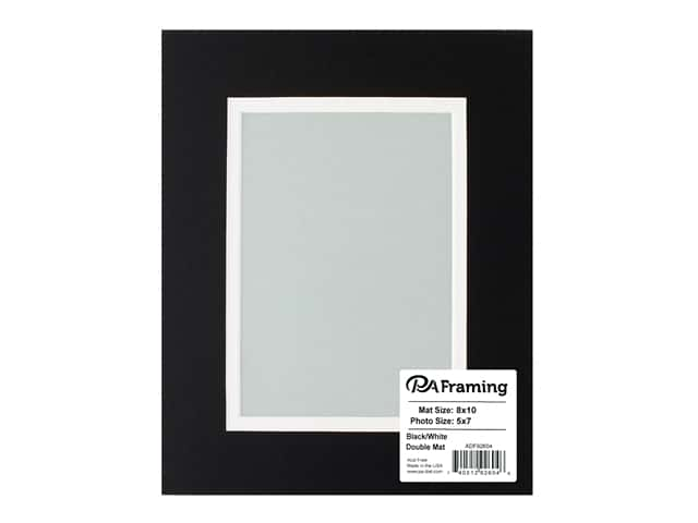 PA Framing Pre-cut Double Photo Mat Board Cream Core 8 x 10 in. for 5 x 7 in. Photo Black/White
