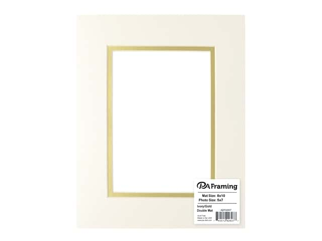 PA Framing Pre-cut Double Photo Mat Board Cream Core 8 x 10 in. for 5 x 7 in. Photo Ivory/Gold