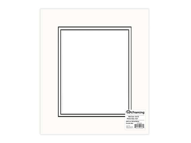 PA Framing Pre-cut Double Photo Mat Board Black Core 8 x 10 in. for 5 x 7 in. Photo White/White
