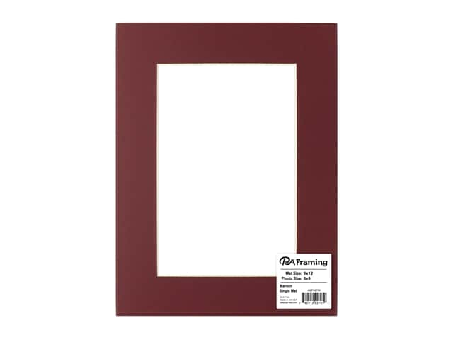 PA Framing Pre-cut Photo Mat Board Cream Core 9 x 12 in. for 6 x 9 in. Photo Maroon