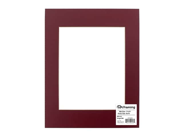 PA Framing Pre-cut Photo Mat Board Cream Core 11 x 14 in. for 8 x 10 in. Photo Maroon