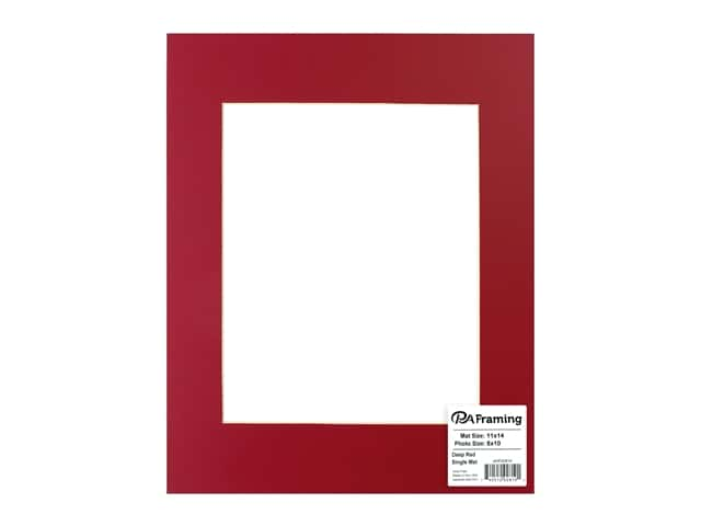 PA Framing Pre-cut Photo Mat Board Cream Core 11 x 14 in. for 8 x 10 in. Photo Deep Red