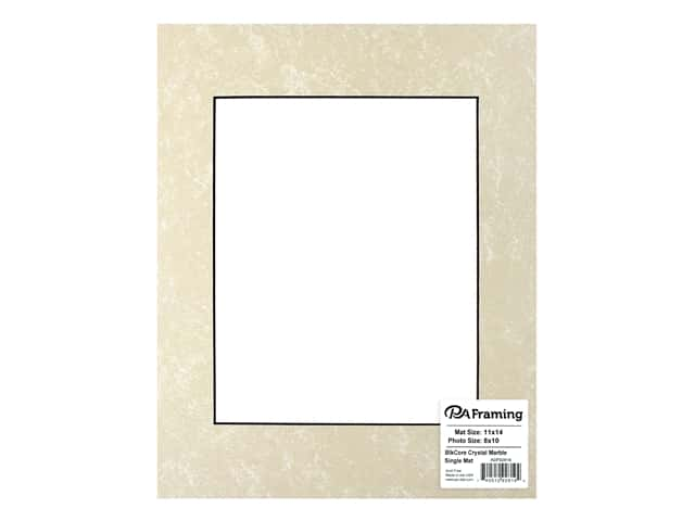 PA Framing Pre-cut Photo Mat Board Black Core 11 x 14 in. for 8 x 10 in. Photo Crystal Marble