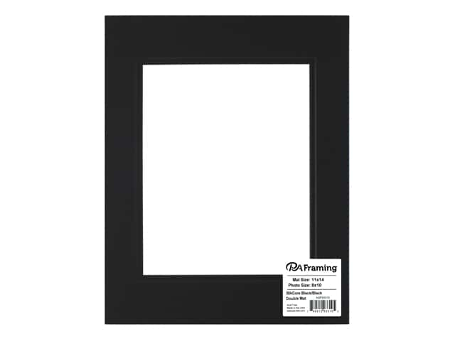 PA Framing Pre-cut Double Photo Mat Board Black Core 11 x 14 in. for 8 x 10 in. Photo Black/Black