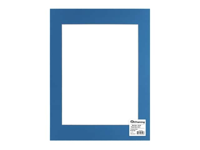PA Framing Pre-cut Photo Mat Board Cream Core 12 x 16 in. for 9 x 12 in. Photo Yorktown Blue