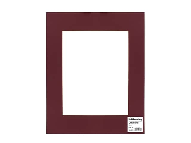 PA Framing Pre-cut Photo Mat Board Cream Core 16 x 20 in. for 11 x 14 in. Photo Maroon