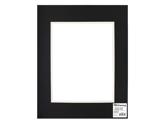 PA Framing Pre-cut Double Photo Mat Board Cream Core 16 x 20 in. for 11 x 14 in. Photo Black/White