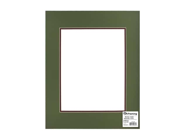 PA Framing Pre-cut Double Photo Mat Board Cream Core 16 x 20 in. for 11 x 14 in. Photo Dill/Maroon