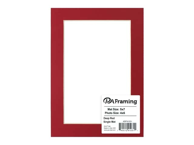 PA Framing Pre-cut Photo Mat Board Cream Core 5 x 7 in. for 4 x 6 in. Photo Deep Red