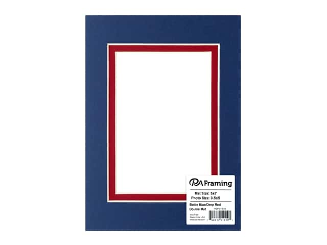 PA Framing Pre-cut Double Photo Mat Board Cream Core 5 x 7 in. for 3 1/2 x 5 in. Photo Bottle Blue/Deep Red