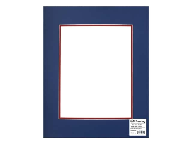 PA Framing Pre-cut Double Photo Mat Board Cream Core 16 x 20 in. for 11 x 14 in. Photo Bottle Blue/Deep Red