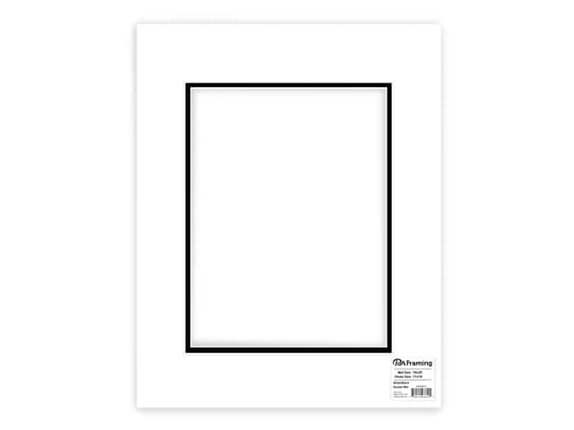 PA Framing Pre-cut Double Photo Mat Board Cream Core 16 x 20 in. for 11 x 14 in. Photo White/Black