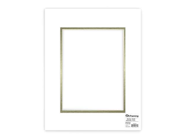 PA Framing Pre-cut Double Photo Mat Board Cream Core 16 x 20 in. for 11 x 14 in. Photo White/Gold