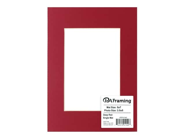 PA Framing Pre-cut Photo Mat Board Cream Core 5 x 7 in. for 3 1/2 x 5 in. Photo Deep Red
