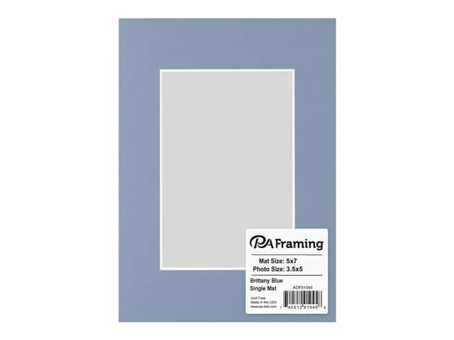 PA Framing Pre-cut Photo Mat Board White Core 5 x 7 in. for 3 1/2 x 5 in. Photo Brittany Blue