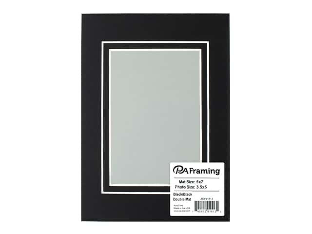 PA Framing Pre-cut Double Photo Mat Board White Core 5 x 7 in. for 3 1/2 x 5 in. Photo Black/Black