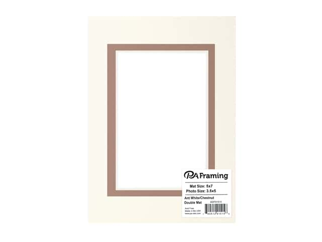 PA Framing Pre-cut Double Photo Mat Board Cream Core 5 x 7 in. for 3 1/2 x 5 in. Photo Antique White/Chestnut