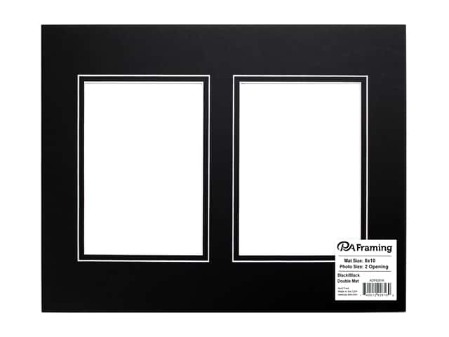 PA Framing Pre-cut Double Photo Mat Board White Core 8 x 10 in. 2 Openings Black/Black