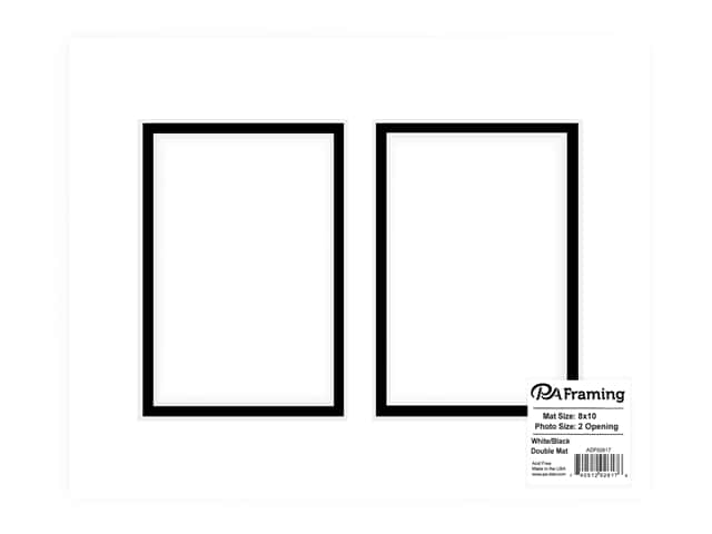 PA Framing Pre-cut Double Photo Mat Board White Core 8 x 10 in. 2 Openings White/Black