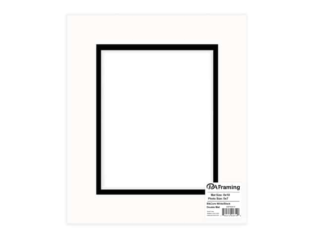 PA Framing Pre-cut Double Photo Mat Board Black Core 8 x 10 in. for 5 x 7 in. Photo White/Black