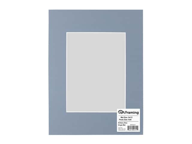 PA Framing Pre-cut Photo Mat Board White Core 9 x 12 in. for 6 x 8 in. Photo Brittany Blue