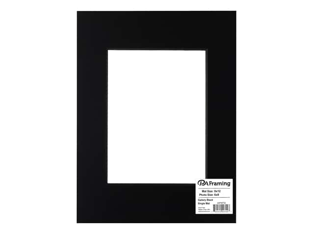 PA Framing Pre-cut Double Thick Gallery Photo Mat Board Black Core 8 x 12 in. for 6 x 8 in. Photo Black