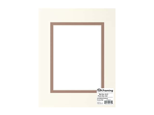 PA Framing Pre-cut Double Photo Mat Board Cream Core 9 x 12 in. for 6 x 8 in. Photo Antique White/Chestnut