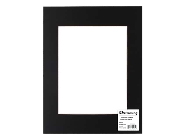 PA Framing Pre-cut Photo Mat Board White Core 11 x 14 in. for 8 x 10 in. Photo Black