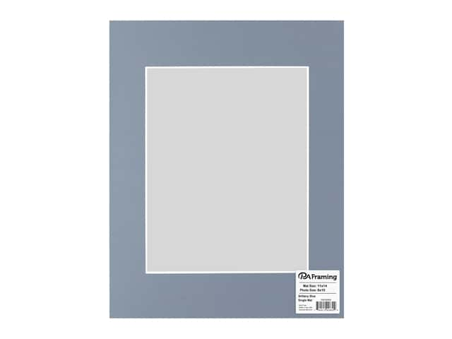 PA Framing Pre-cut Photo Mat Board White Core 11 x 14 in. for 8 x 10 in. Photo Brittany Blue