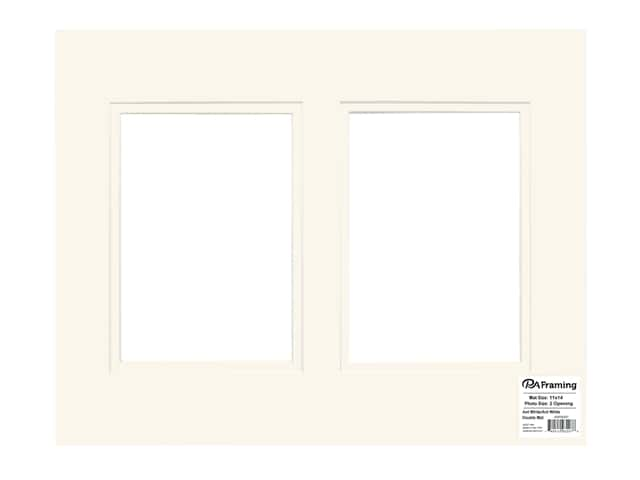 PA Framing Pre-cut Double Photo Mat Board Cream Core 11 x 14 in. 2 Openings Antique White/Antique White