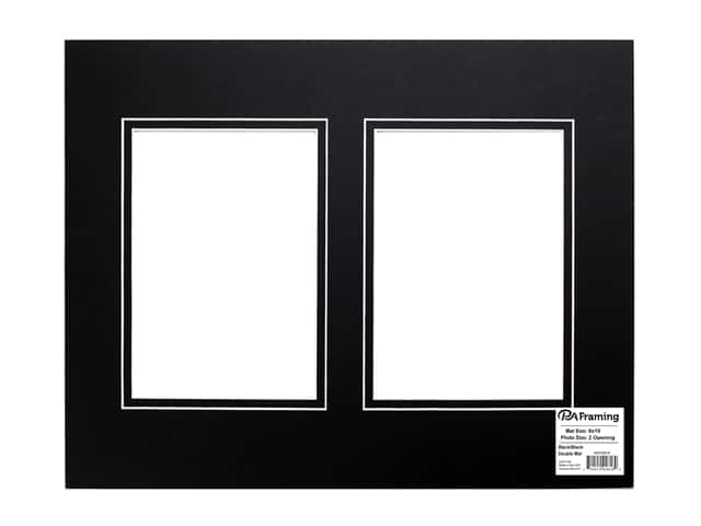 PA Framing Pre-cut Double Photo Mat Board White Core 11 x 14 in. 2 Openings Black/Black