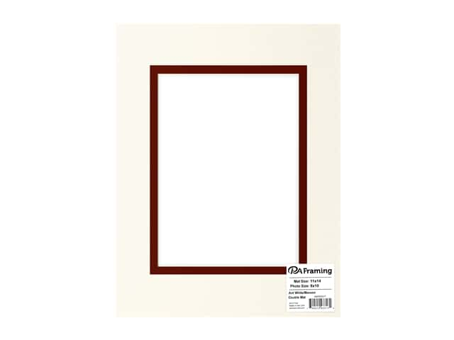PA Framing Pre-cut Double Photo Mat Board Cream Core 11 x 14 in. for 8 x 10 in. Photo White/Maroon