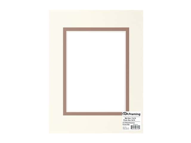 PA Framing Pre-cut Double Photo Mat Board Cream Core 11 x 14 in. for 8 x 10 in. Photo White/Chestnut