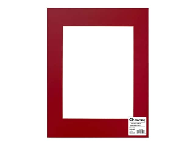 PA Framing Pre-cut Photo Mat Board Cream Core 14 x 18 in. for 10 x 13 in. Photo Deep Red
