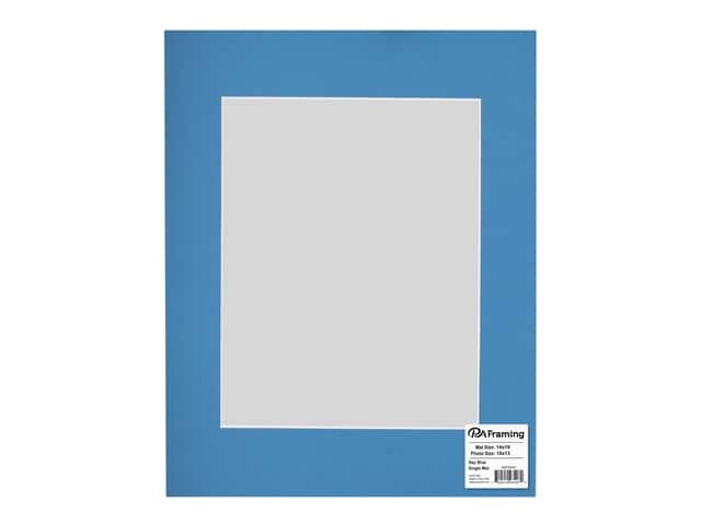PA Framing Pre-cut Photo Mat Board White Core 14 x 18 in. for 10 x 13 in. Photo Bay Blue