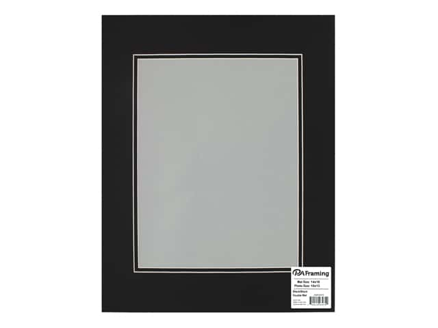 PA Framing Pre-cut Double Photo Mat Board White Core 14 x 18 in. for 10 x 13 in. Photo Black/Black