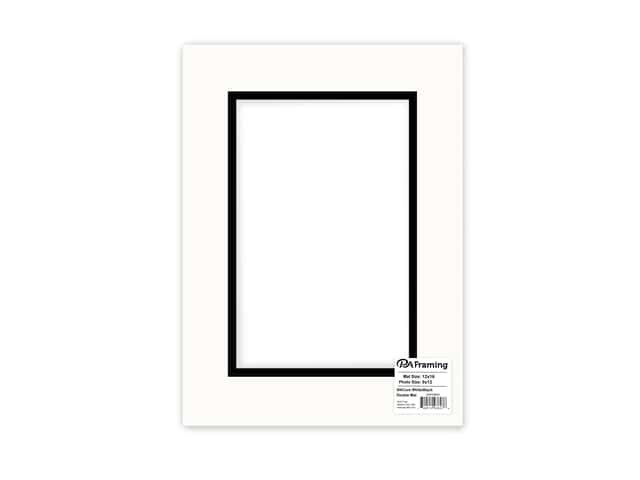 PA Framing Pre-cut Double Photo Mat Board Black Core 12 x 16 in. for 8 x 12 in. Photo White/Black