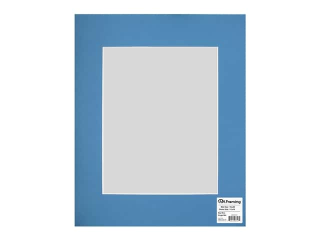 PA Framing Pre-cut Photo Mat Board White Core 16 x 20 in. for 11 x 14 in. Photo Bay Blue