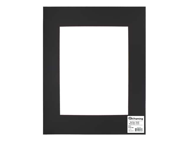 PA Framing Pre-cut Photo Mat Board White Core 16 x 20 in. for 11 x 14 in. Photo Black