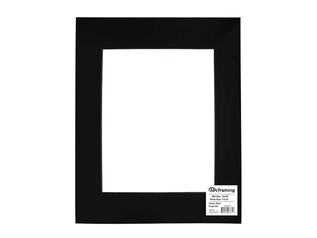 PA Framing Pre-cut Double Thick Gallery Photo Mat Board Black Core 16 x 20 in. for 11 x 14 in. Photo Black