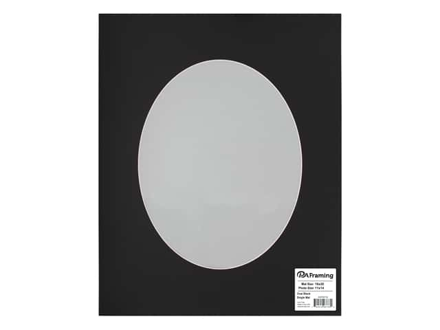 PA Framing Pre-cut Oval Photo Mat Board White Core 16 x 20 in. for 11 x 14 in. Photo Black