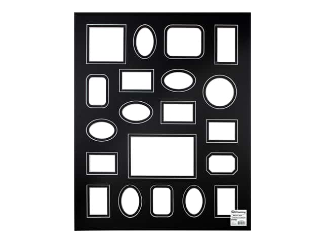 PA Framing Pre-cut Double Photo Mat Board White Core 16 x 20 in. 20 Openings Black/Black